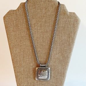 CHICO'S Pewter Style Chunky Medallion Necklace